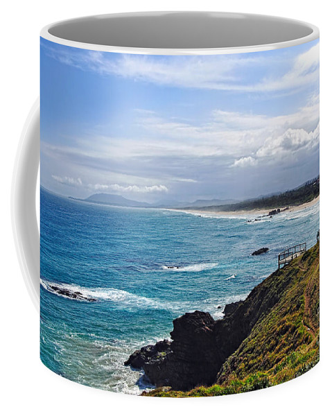 Photography Coffee Mug featuring the photograph Rocks Ocean Surf And Sun by Kaye Menner