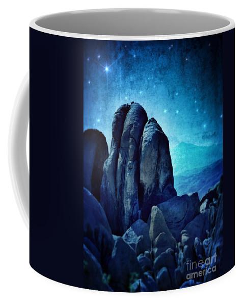 Rocks Coffee Mug featuring the photograph Rocky Cliff In Starlight by Jill Battaglia