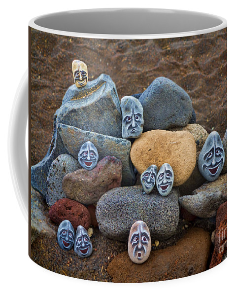 Rock Coffee Mug featuring the photograph Rocky Faces In The Sand by David Smith