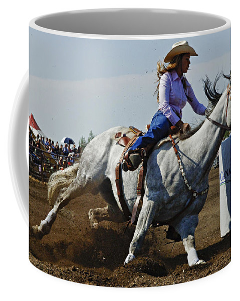 Rodeo Coffee Mug featuring the photograph Rodeo Barrel Racer by Bob Christopher