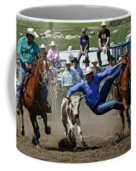 Rodeo Coffee Mug featuring the photograph Rodeo Steer Wrestling by Bob Christopher