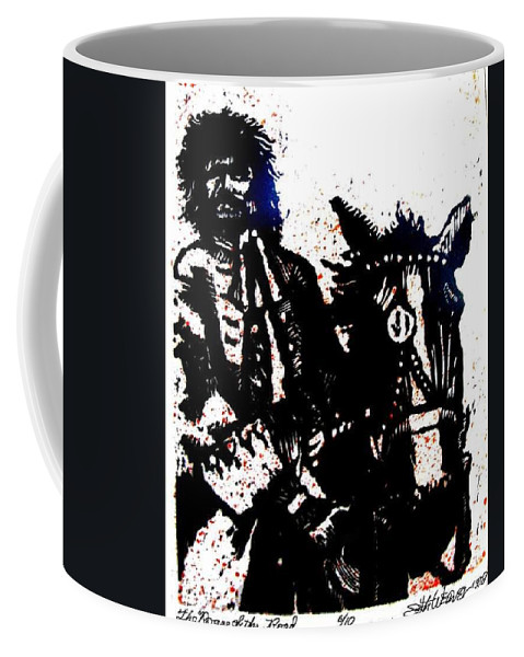 English Highwayman Coffee Mug featuring the mixed media Rogue of the Road by Seth Weaver
