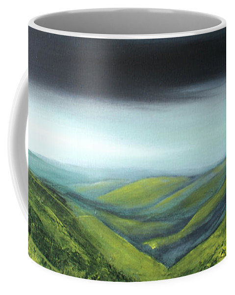 British Landscape Coffee Mug featuring the painting Rolling Hills by Isabelle Amante