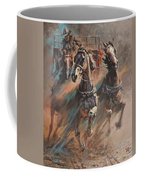 Horses Coffee Mug featuring the painting Rolling Thunder by Mia DeLode