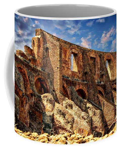 Roma Coffee Mug featuring the photograph Roman Colosseum by Anthony Dezenzio