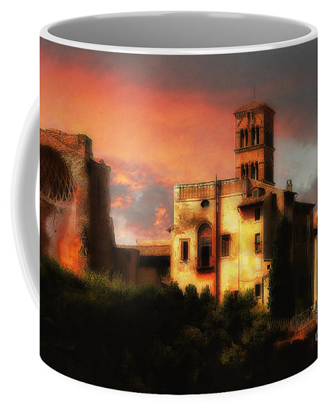 The Forum Coffee Mug featuring the photograph Roman Forum At Sunset by Mike Nellums