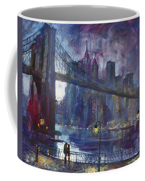 Brooklyn Bridge Coffee Mug featuring the painting Romance by East River NYC by Ylli Haruni
