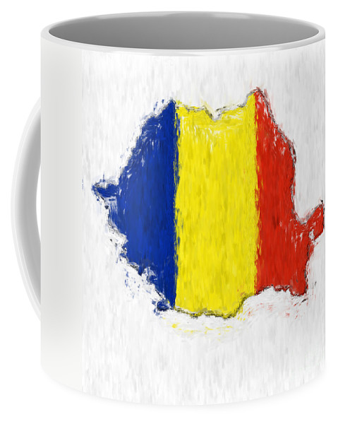 Romania Coffee Mug featuring the photograph Romania Painted Flag Map by Antony McAulay