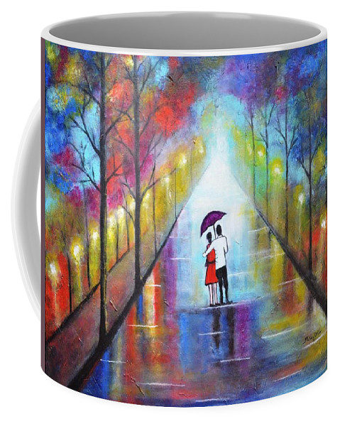 Romance Coffee Mug featuring the painting Romantic Interlude by Manjiri Kanvinde