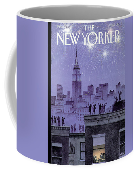 Harry Bliss Hbl Coffee Mug featuring the painting Rooftop Revelers Celebrate New Year's Eve by Harry Bliss