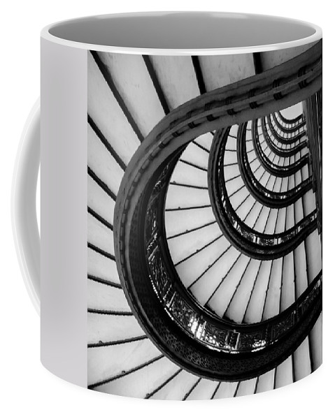 Chicago Coffee Mug featuring the photograph Rookery Building Looking Up The Oriel Staircase - Black And White by Anthony Doudt