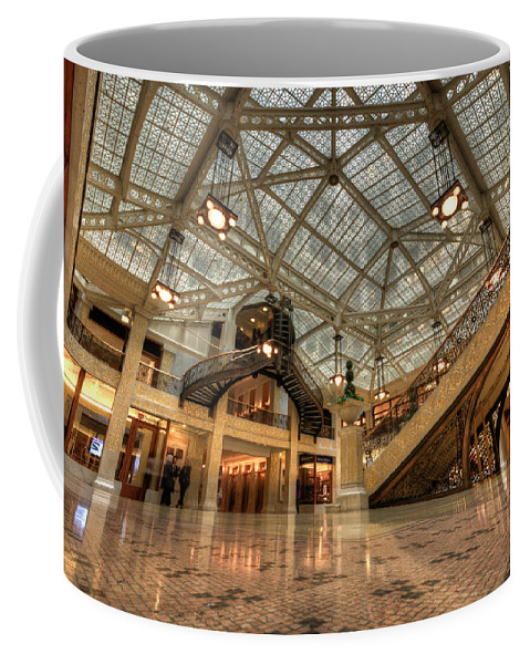 Chicago Coffee Mug featuring the photograph Rookery Building Main Lobby And Atrium by Anthony Doudt