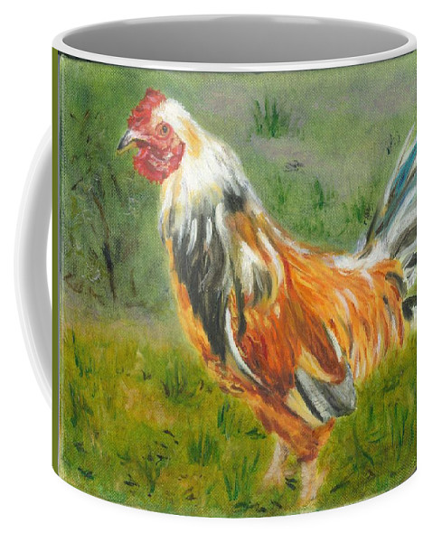 Rooster Coffee Mug featuring the painting Rooster Rules by Paula Emery