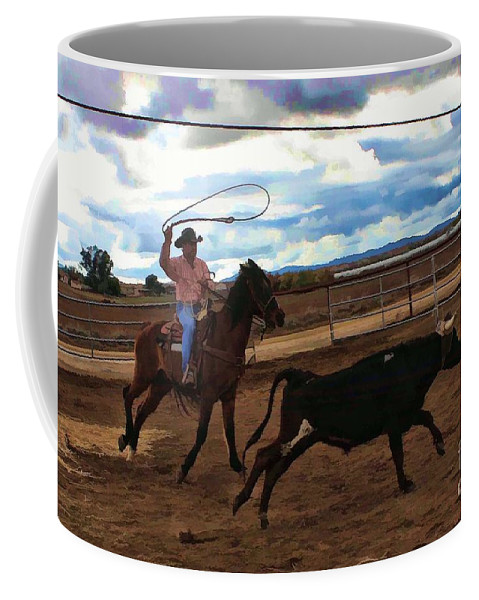 Cowboy Coffee Mug featuring the photograph Roping by Tommy Anderson