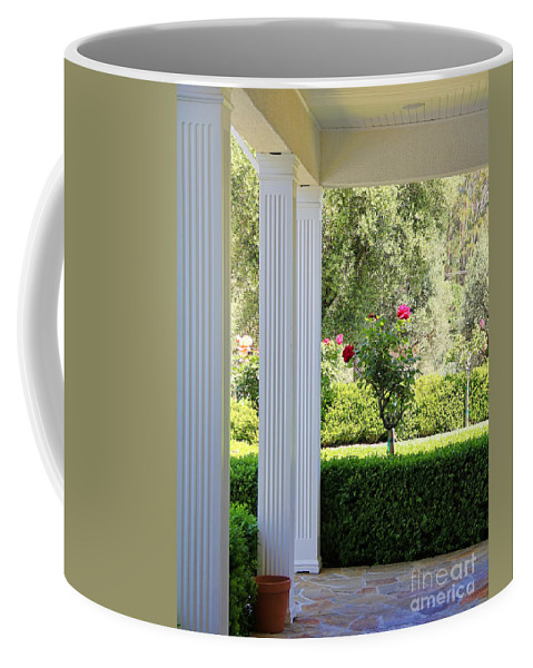 Roses Coffee Mug featuring the photograph Rose And Front Porch by Jack Schultz