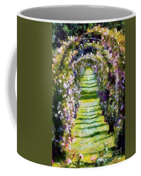 Arches Coffee Mug featuring the painting Rose Arch In Summer Sunshine by RC DeWinter