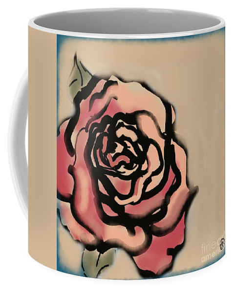 Rose Coffee Mug featuring the digital art Rose by Carrie Joy Byrnes