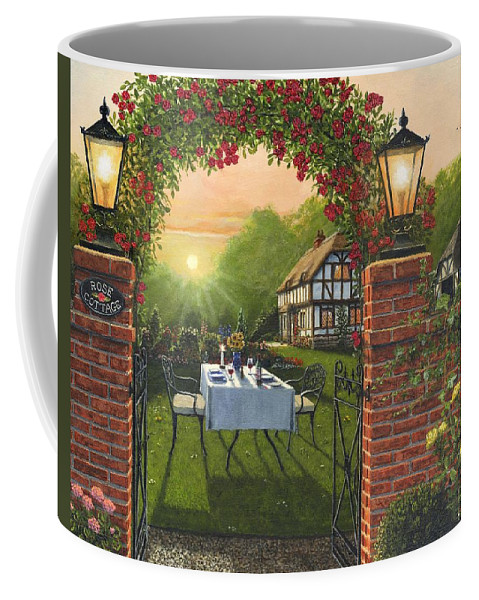 Landscape Coffee Mug featuring the painting Rose Cottage - Dinner For Two by Richard Harpum