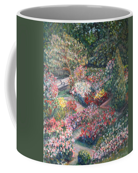 Impressionist Landscape Coffee Mug featuring the painting Rose Garden by Quin Sweetman