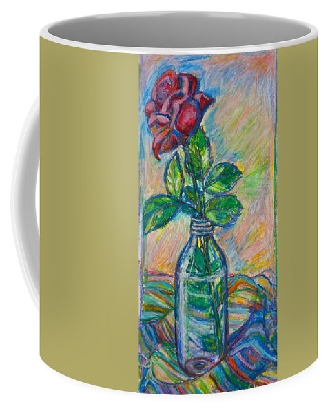 Still Life Coffee Mug featuring the painting Rose In A Bottle by Kendall Kessler