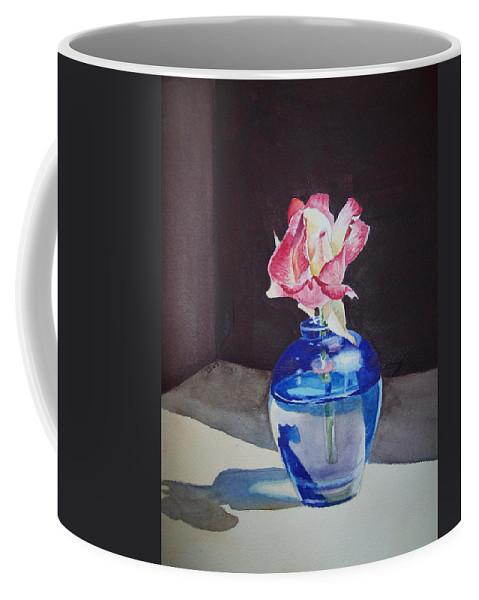 Rose Coffee Mug featuring the painting Rose In The Blue Vase II by Irina Sztukowski