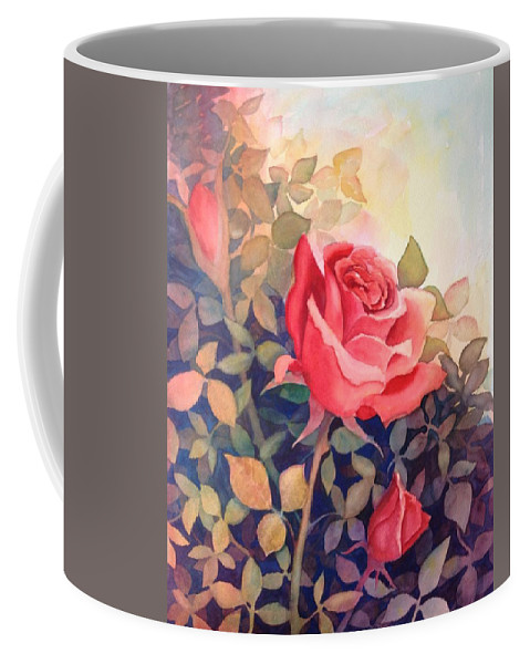 Rose Coffee Mug featuring the painting Rose On A Warm Day by Marilyn Jacobson