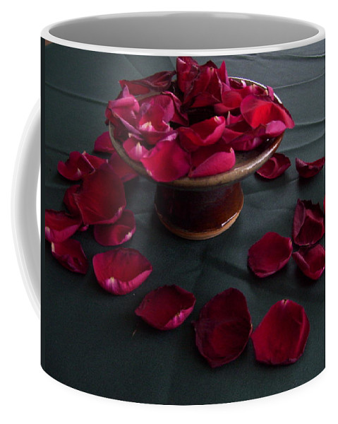 Roses Coffee Mug featuring the photograph Rose Petals And Pottery by Terry Cobb