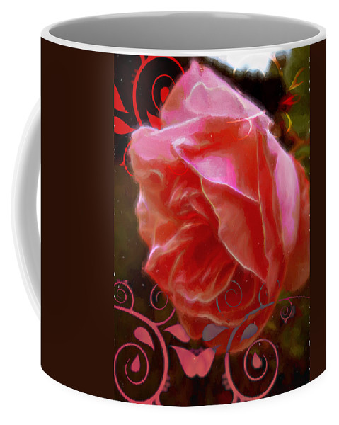 Rose Coffee Mug featuring the digital art Rose Rose And Rose by Cathy Anderson