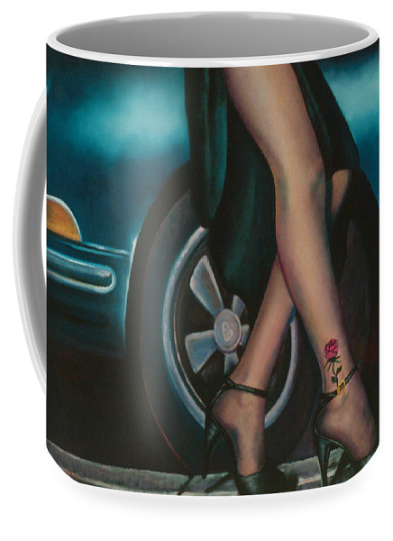 Legs Coffee Mug featuring the painting Rose Tattoo by Mary Ann Leitch