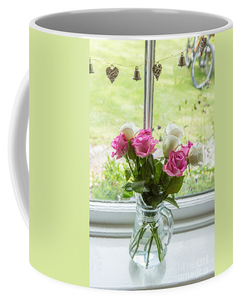 Roses In Vase Coffee Mug featuring the photograph Rose Vase With Hearts by Iris Richardson