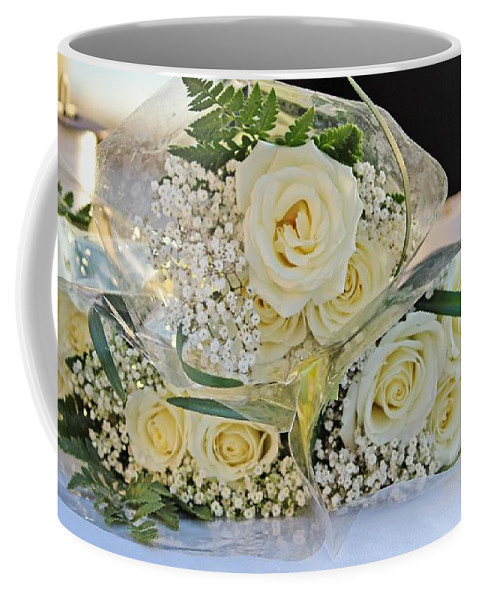 Rose Coffee Mug featuring the photograph Roses And Baby Breath by Cynthia Guinn
