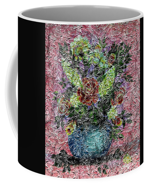 Roses Coffee Mug featuring the photograph Roses And White Lilacs Digital Painting by Barbara Griffin
