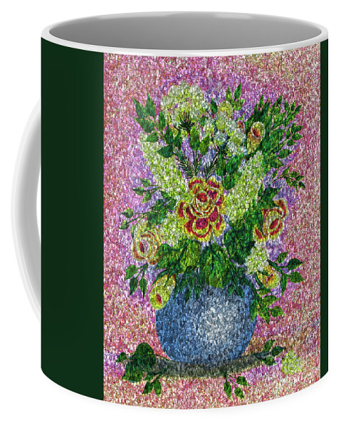 Roses And White Lilacs Coffee Mug featuring the painting Roses And White Lilacs Lacy Bouquet Digital Painting by Barbara Griffin