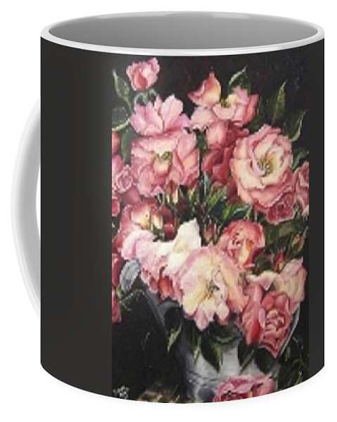Pink Roses Floral Flowers Coffee Mug featuring the painting Roses In A Watercan by Karin Dawn Kelshall- Best