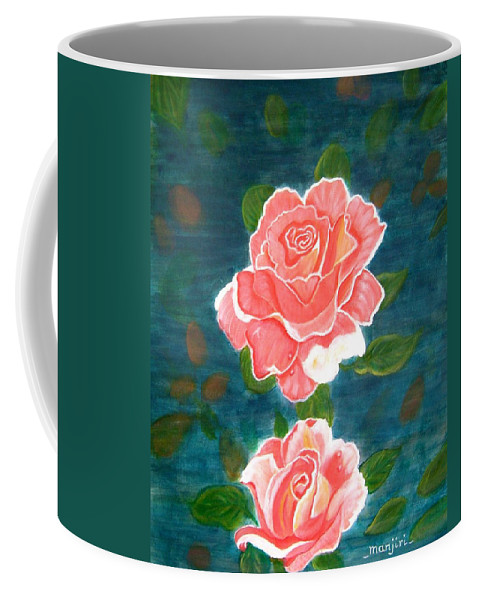 Rose Coffee Mug featuring the painting Roses by Manjiri Kanvinde