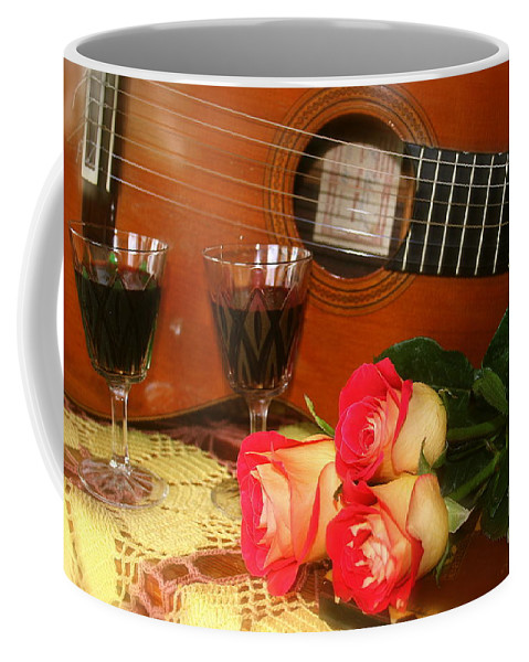 Guitar Coffee Mug featuring the photograph Guitar 'n Roses by The Art of Alice Terrill