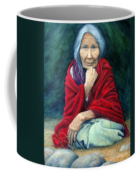 1st Nations Coffee Mug featuring the painting Rosie Remembered by Joey Nash
