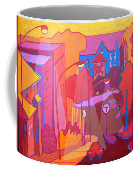 Cityscape Coffee Mug featuring the painting Roslindale Never Looked so Red by Debra Bretton Robinson
