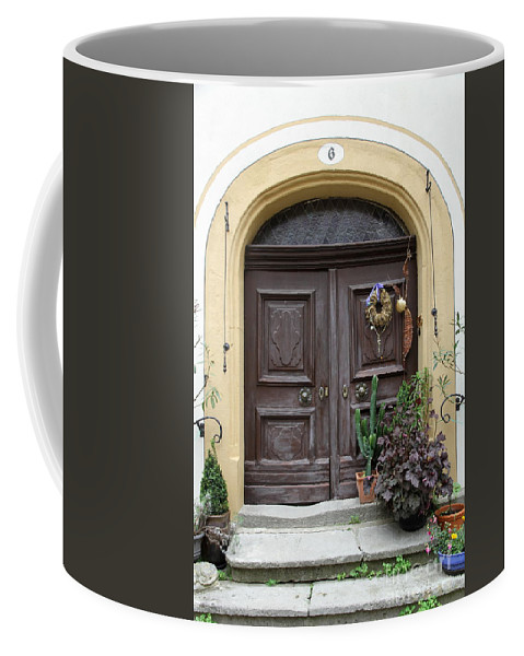 Village Coffee Mug featuring the photograph Rothenburg Ob Der Tauber Door by Christiane Schulze Art And Photography