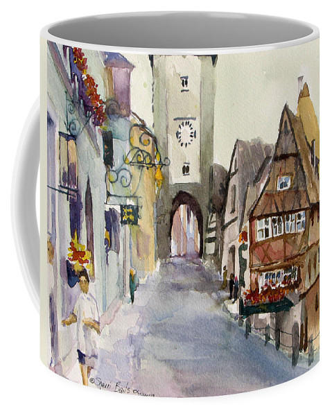 Street Scene Coffee Mug featuring the painting Rothenburg by Sherri Bails