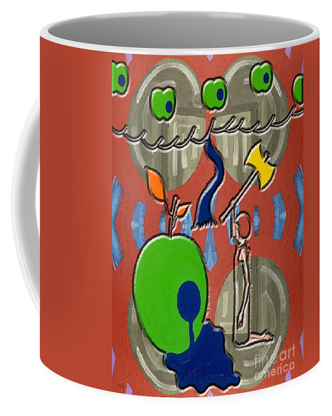 Surreal Coffee Mug featuring the painting Rotten Tree Rotten Fruit by Patrick J Murphy