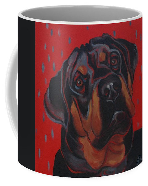 Dog Coffee Mug featuring the painting Rottweiler by Pet Whimsy Portraits