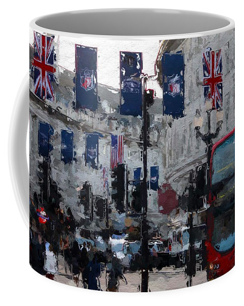 Taxi Cab London Street Sale Car Colorful Color City Urban Art Digital Painting Flag British Shops Shop People Expressionism Impressionism Piccadilly Circus Coffee Mug featuring the digital art Round The Piccadilly by Steve K