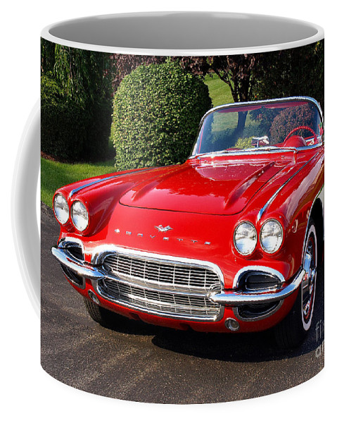 Vintage Coffee Mug featuring the photograph Route 66 - 1961 Corvette by John Waclo