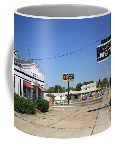 66 Coffee Mug featuring the photograph Route 66 - Boots Motel by Frank Romeo