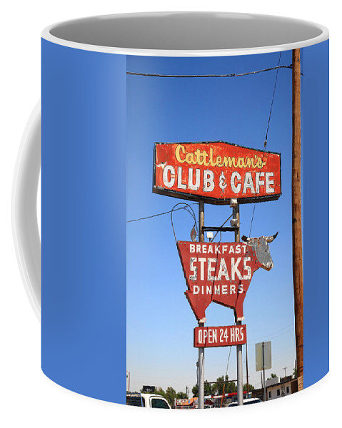 66 Coffee Mug featuring the photograph Route 66 - Cattleman's Club And Cafe by Frank Romeo