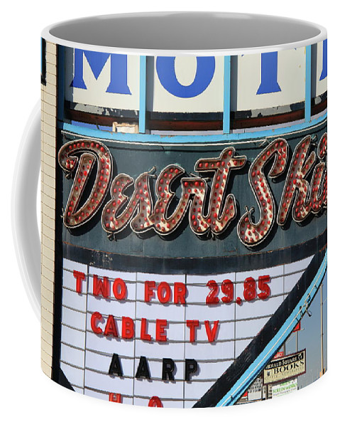 66 Coffee Mug featuring the photograph Route 66 - Desert Skies Motel by Frank Romeo