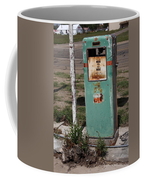 66 Coffee Mug featuring the photograph Route 66 Gas Pump - Adrian Texas by Frank Romeo