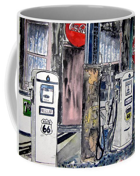 Watercolor Coffee Mug featuring the painting Route 66 gas station by Derek Mccrea