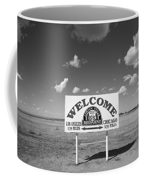 66 Coffee Mug featuring the photograph Route 66 - Midpoint Sign by Frank Romeo